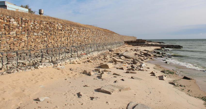 Разрушение габионного берега в Цимлянске